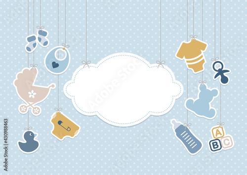 Photo Karte Hängende Babysymbole Junge Mit Wolke Punkte Retroblau Senfgelb