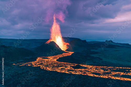 Canvas Print Very big explosion of lava erupting from the volcanic crater in Iceland