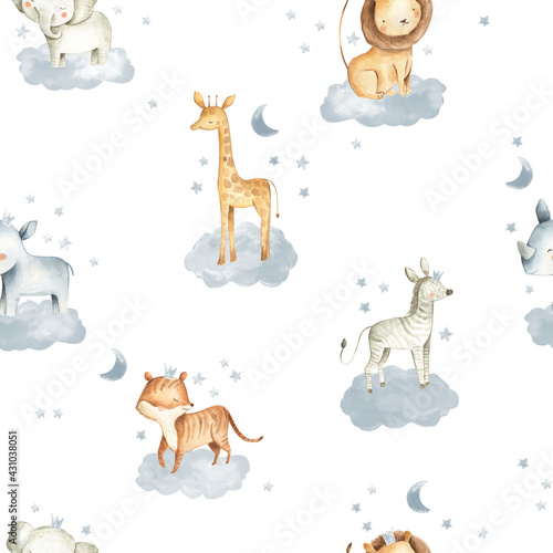 Leinwand Poster Safari Animals watercolor illustrations for baby in the sky with clouds and star