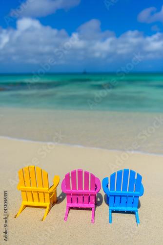 Fotografie, Obraz Colorful beach chairs at the beach