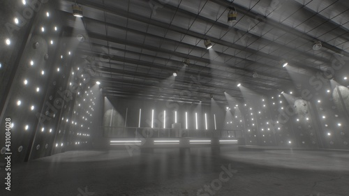 Fotografiet Flashing Lights in Abandoned Warehouse Rave Party Underground Venue - Abstract B