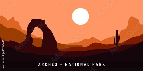 Canvas Print Arches National Park. Vector Illustration Background.
