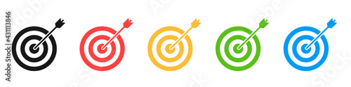 Set of icons of targets for archery isolated on a white background. The concept of achieving a goal in business or in another matter. Vector illustration.