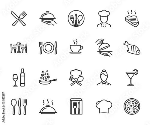 Photo Vector set of restaurant line icons