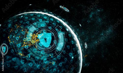 Obraz na plátně Cyber security technology and online data protection in innovative perception