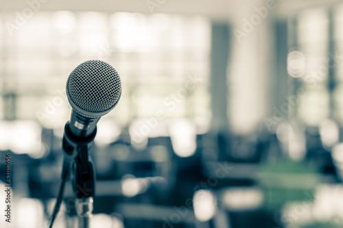 Obraz na płótnie Microphone voice speaker in business seminar, speech presentation, town hall mee