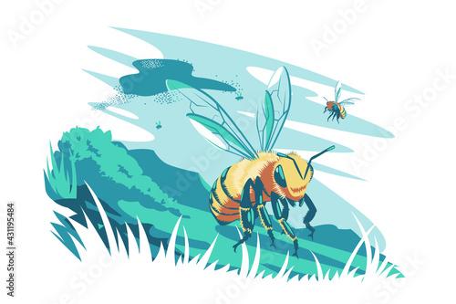 Obraz na plátne Cute bee flying in air vector illustration