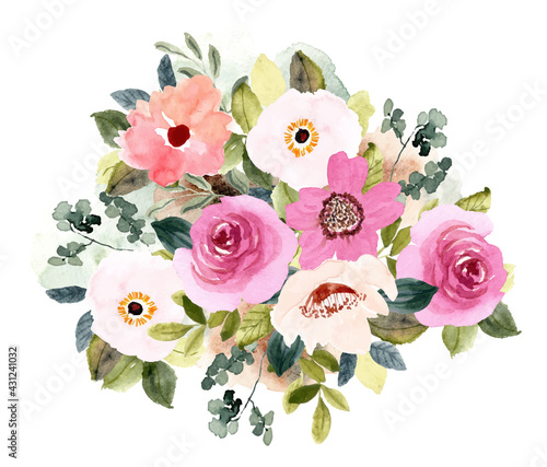 Slika na platnu blush pink flower bouquet watercolor background