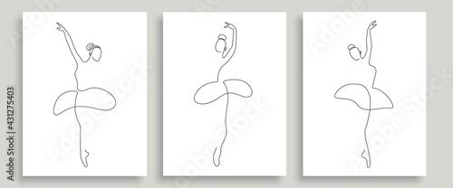 Fotografiet Ballerina Pose One Line Drawing Prints Set