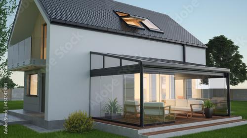 Fotografia Terrace canopy - winter garden, 3d illustration
