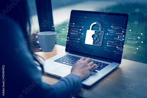 Fotografiet CYBER SECURITY Business  technology Antivirus Alert Protection Security and Cybe