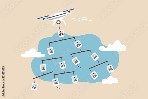 Carta da parati Organization chart, management team or employees tree and hierarchy working level concept, flying drone carrying mobile company org chart in the sky