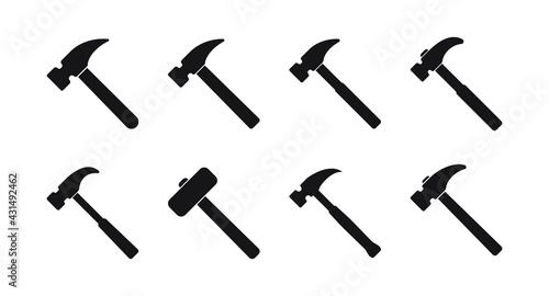 Photo Hammer icon, hammer symbol, vector.