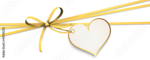 Fényképezés gold ribbon bow with heart hang tag