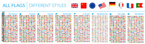 Fotografia All World Flags - Big Set. Different styles. Vector Flat Icons