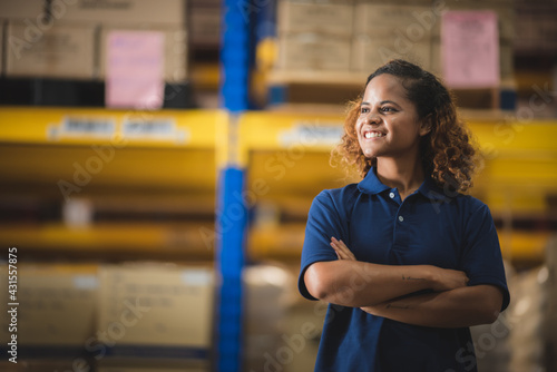 Cuadros en Lienzo African American worker person working with safety in warehouse logistic factory