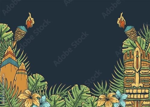 Canvas Print Design of trendy hawaii surf for tiki bar