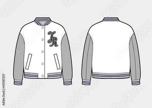 Vászonkép Bomber or College jacket on white background