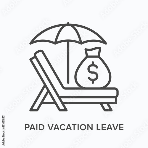 Fototapeta Paid vacation flat line icon