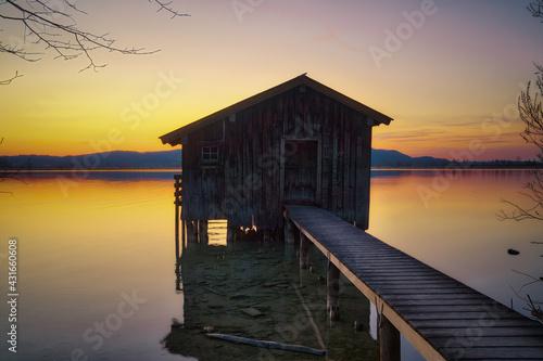 Canvastavla Lake Houses at Lake Kochel in the Bavarian Alps, Germany