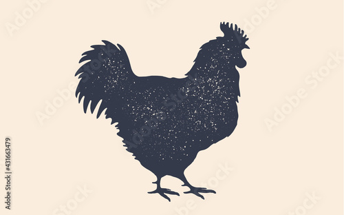 Leinwand Poster Rooster, chicken, hen, poultry, silhouette