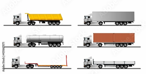 Fotografie, Obraz A set of images of a modern european truck with different variants of semi-trailers