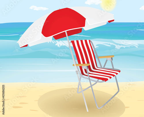 Chair and sun umbrella on beach. vector Tapéta, Fotótapéta
