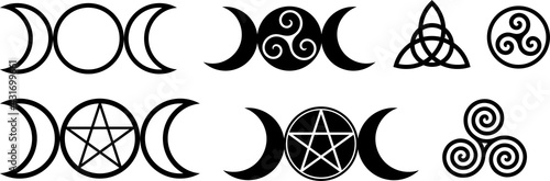 Photo Collection of magical wiccan and pagan symbols: pentagram, triple moon, spiral w