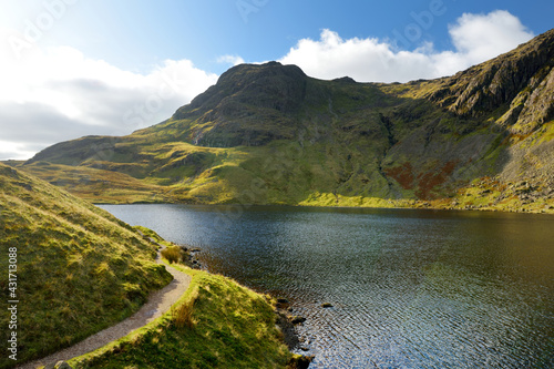 Obraz na plátně Clear waters of Stickle Tarn lake, located in the Lake District, Cumbria, UK