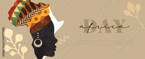 Obraz na plátně Africa Day web banner black woman face map
