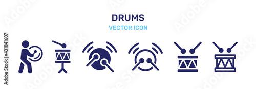 Foto Drummer, Drums icon vector set