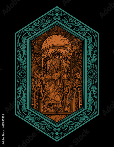 Canvas Print illustration vector king satan on gothic engraving ornament style