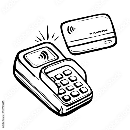 Fotografie, Obraz payment terminal for credit card, hand drawn vector illustration