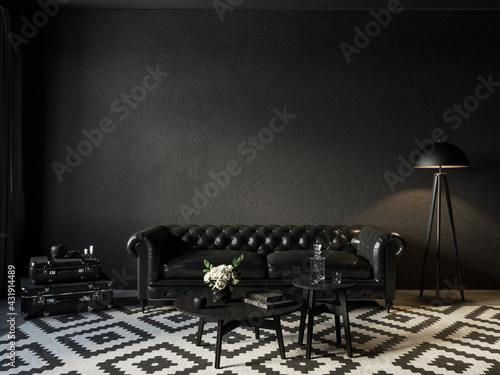 фотография Black room interior with chester leather sofa and decor