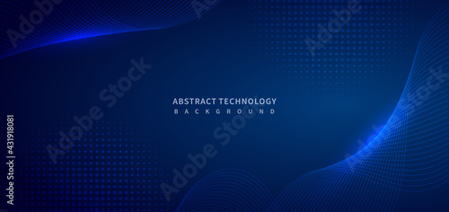 Abstract technology digital lighting futuristic glowing blue light lines wave background.