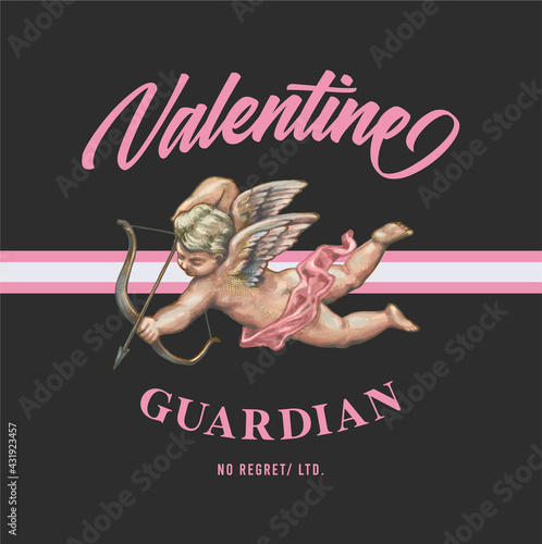 Obraz na płótnie Graphic t-shirt design, valentine guardian slogan with Flying Cupid holding bow and aiming or shooting arrow ,vector illustration for t-shirt