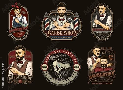 Obraz na plátně Barbershop colorful vintage designs set