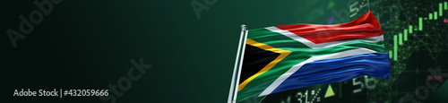 Fotografie, Obraz South Africa Flag with Economy and large Gradient Single Flag
