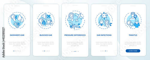 Foto Ear conditions onboarding mobile app page screen with concepts