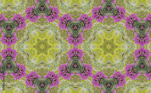Leinwand Poster Geometric Patterns Kaleidoscope Purple bougainvillea flowers