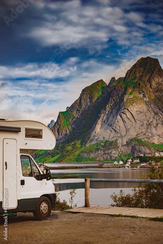 Canvastavla Camper car on fjord, Lofoten Norway