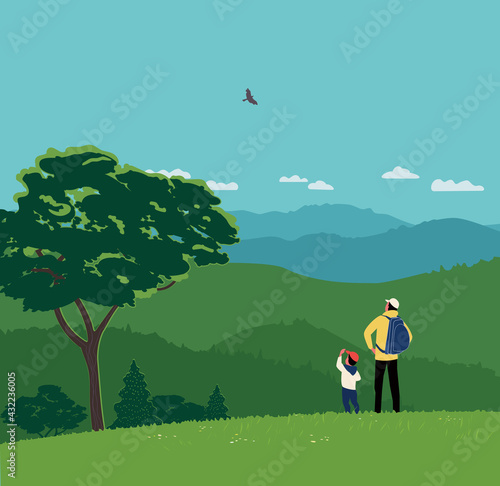 Fotografie, Obraz Dad and Son Hiking Together in Mountains Vector