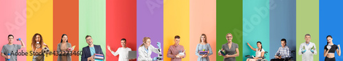 Fotografie, Obraz Set of teachers on color background