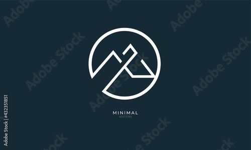 Fotografia a line art icon logo of a mountain