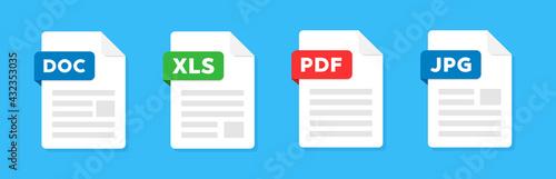 Fotografie, Tablou Document file icons vector set