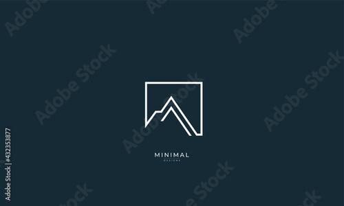 Photographie a line art icon logo of a mountain