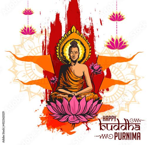 Canvas-taulu Illustration Of Buddha Purnima Background