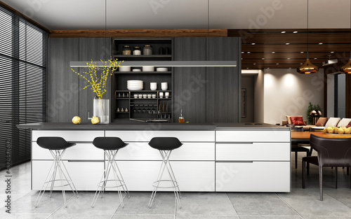 3d render of home kitchen and bar