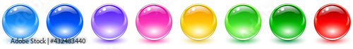 Photo Set of colored spheres, shiny and glossy 3D colorful glass balls collection, multicolored vector illustration