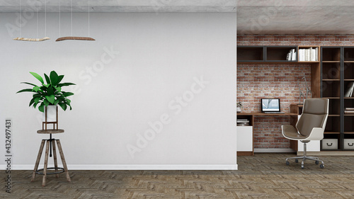 Foto Industrial empty room, photorealistic 3D Illustration of the interior, suitable for using in video conference and as a zoom background